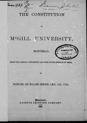 Cover of: The constitution of McGill University |