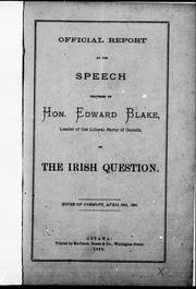 Cover of: Official report of the speech on the Irish question