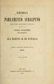 Cover of: Storia del parlamento subalpino by Angelo Brofferio