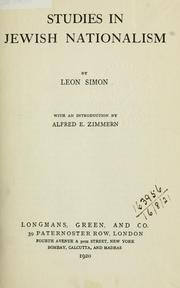 Cover of: Studies in Jewish nationalism | Leon Simon