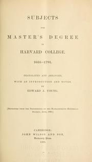 Cover of: Subjects for master's degree in Harvard College by Young, Edward J.