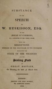 Cover of: Substance of the speech of W. Huskisson, Esq. | W. Huskisson