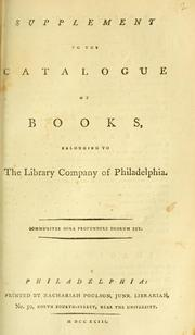 Cover of: Supplement to the catalogue of books belonging to the Library Company of Philadelphia. | Library Company of Philadelphia.