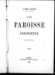 Cover of: Une paroisse canadienne au XVIIe siècle