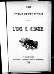 Cover of: Les principes de l'Hon. M. Mercier