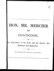 Cover of: Hon. Mr. Mercier at Coaticook