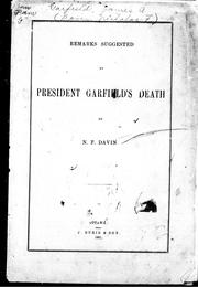 Cover of: Remarks suggested by President Garfield's death
