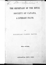 Cover of: The secretary of the Royal Society of Canada