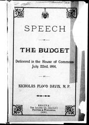 Cover of: Speech on the budget