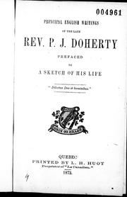 Cover of: Principal English writings of the late Rev. P.J. Doherty