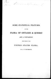 Cover of: Some statistical features of the flora of Ontario & Quebec |