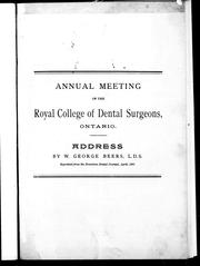 Cover of: Annual meeting of the Royal College of Dental Surgeons, Ontario