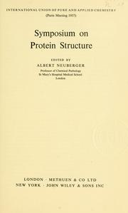 Cover of: Symposium on Protein Structure. | Symposium on Protein Structure (1957 CollГЁge de France)