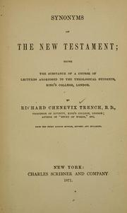 Cover of: Synonyms of the New Testament