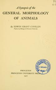 Cover of: A synopsis of the general morphology of animals
