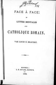 Cover of: Face à face ou Luttes mentales d'un catholique romain