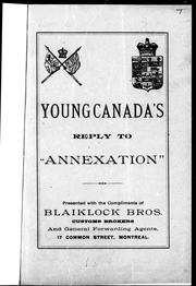 "Cover of: Young Canada's reply to ""Annexation"""
