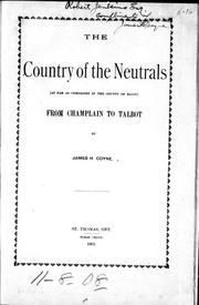 Cover of: The country of the Neutrals |