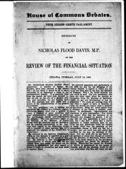 Cover of: Speech of Nicholas Flood Davin, M.P. on the review of the financial situation