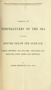Cover of: Tables of temperatures of the sea at various depths below the surface