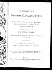 Cover of: Selections from Scottish Canadian poets |