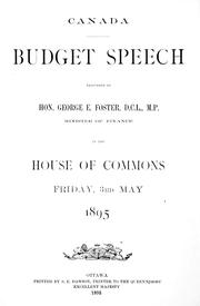 Budget speech by George Eulas Foster