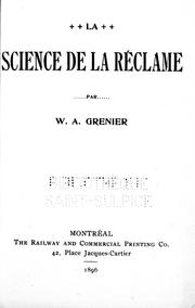 Cover of: La science de la réclame