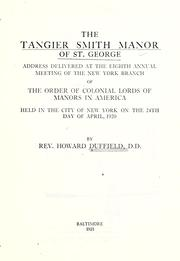 Cover of: The Tangier Smith manor of St. George