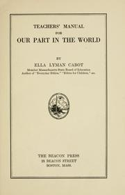 Cover of: Teachers' manual for Our part in the world | Cabot, Ella Lyman.