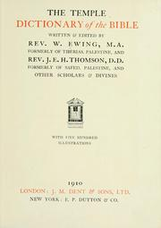 Cover of: The Temple dictionary of the Bible