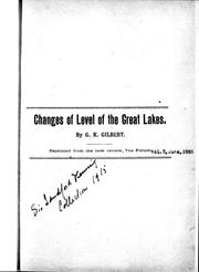 Cover of: Changes of level of the Great Lakes | Grove Karl Gilbert