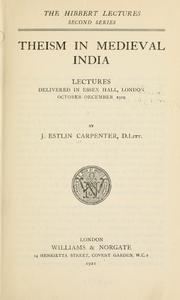 Cover of: Theism in medieval India