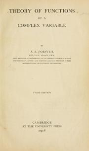 Cover of: Theory of functions of a complex variable