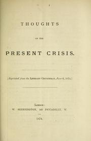 Cover of: Thoughts on the present crisis. |