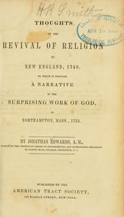 Cover of: Thoughts on the revival of religion in New England, 1740