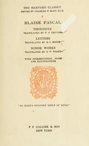 Cover of: Thoughts, tr. by W.F. Trotter: letters, tr. by M.L. Booth, minor works, tr. by O.W. Wight: with introds. notes and illus.