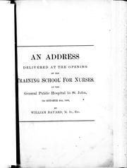 Cover of: An address delivered at the opening of the training school for nurses |