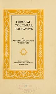 Cover of: Through colonial doorways