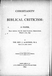 Cover of: Christianity and biblical criticism | John De Soyres