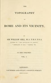 Cover of: The topography of Rome and its vicinity | Gell, William Sir