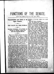 Cover of: Functions of the Senate |