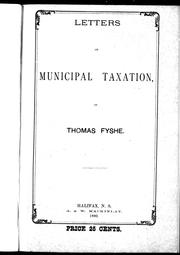 Letters on municipal taxation by Thomas Fyshe