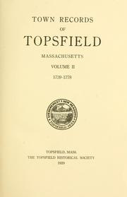 Cover of: Town records of Topsfield, Massachusetts, 1659-1778. | Topsfield (Mass.)
