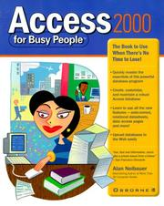 Cover of: Access 2000 for busy people | Alan R. Neibauer