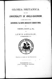 Cover of: Gloria Britanica and the universality of Anglo-Saxonism