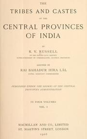 Cover of: The tribes and castes of the Central Provinces of India by Robert Vane Russell