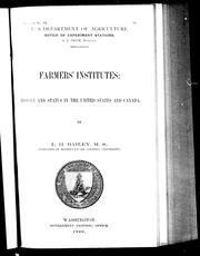Cover of: Farmers' institutes