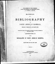 Cover of: Material for a bibliography of North American mammals |
