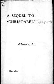 "Cover of: A sequel to ""Christabel"""