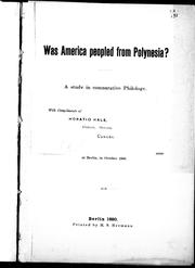 Cover of: Was America peopled from Polynesia?: a study in comparative philology